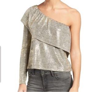 Trouve Gold Womens Metallic Foil One-shoulder Top